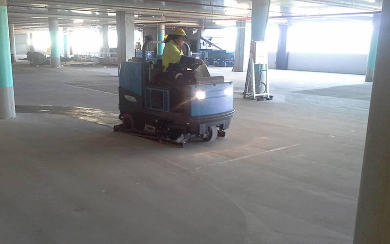 Scrubbing Building Project Floor