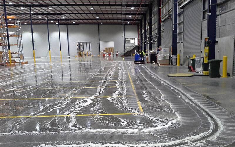 Soapy Floor Scrubbing