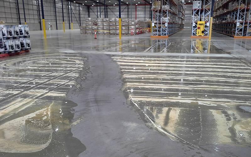 Wet Factory Floor Sweeping Scrubbing Project